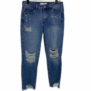 KanCan Distressed Mid-Rise Jeans sz 26 Medium Wash